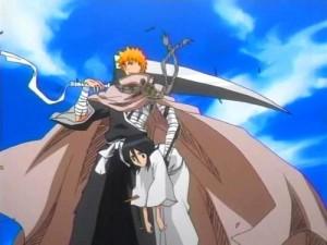 Ichigo's Shikai saving Rukia